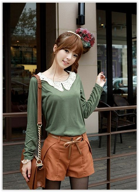 CLICK - Laced Collar Long-Sleeve Top US$ 11.45