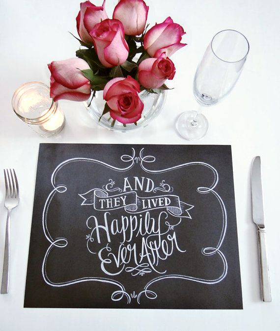 Book Of 25 Tear-Out Paper Placemats - Wedding Placemats - Chalkboard Placemats - And They Lived Happily Ever After - Gift For Newlyweds
