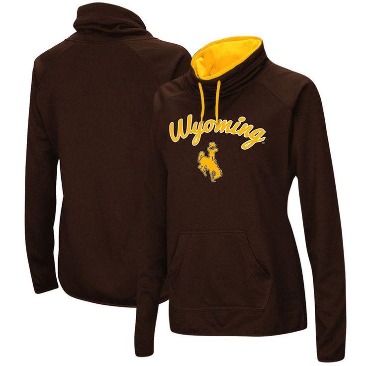 Wyoming Cowboys Women's Funnel Neck Pullover Hooded Sweatshirt - Brown
