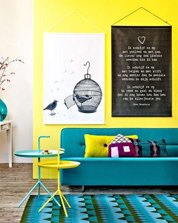DIY Poetry XL #wall - Poëzie in XL #muur. Kijk op www.101woonideeen.nl: Birds Prints, Decor, Meeting Turquoi, Living Rooms, Yellow Wall, Color Schemes, Colour Palettes, Color Palettes Yellow, Yellow Meeting
