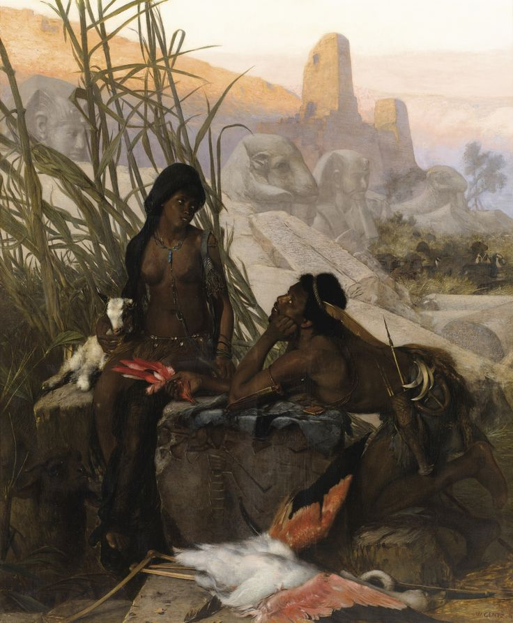Karl Wilhelm Gentz- NEURUPPIN 1822 - 1890 BERLIN, ÉCOLE ALLEMANDE CHASSEURS NUBIENS KARL-WILHELM GENTZ; NUBIAN HUNTERS; SIGNED LOWER RIGHT; OIL ON CANVAS Signed lower right W. Gentz ​​Oil on canvas  166 x 139 cm; 65 1/3 by 54 3/4 in: