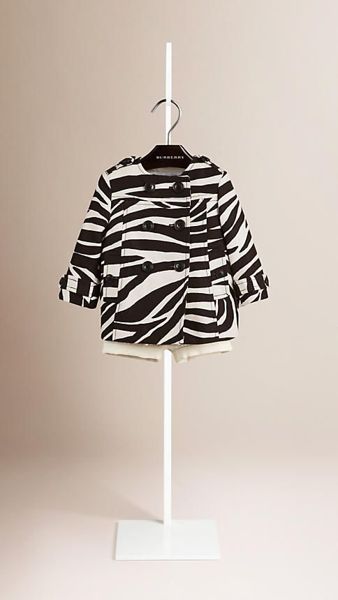 Negro/blanco Abrigo de corte globo en lino y algodón con estampado de cebra y cuello mao - Imagen 2