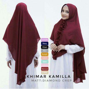 Jilbab Instan / Hijab Khimar Kamilla pad antem diamond crepe, Jilbab instant pad antem, dengan variasi rempel kriwil di bagian depan jilbab dari ujung dagu sampai ujung bawah jilbab.. Praktis, cantik, ringan dan tidak menerawang, minat WA +6289681170196