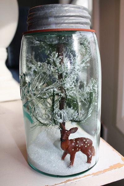 The Lemonista: Mason Jar Snow Globes & Terrariums Tutorial ~ Holiday Repurposing