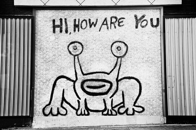 Hi, How Are You - Daniel Johnston's mural of Jeremiah the Innocent on the side of the former SoundXchange music store and current restaurant Thai Spice. Guadalupe Street, Austin, Texas.