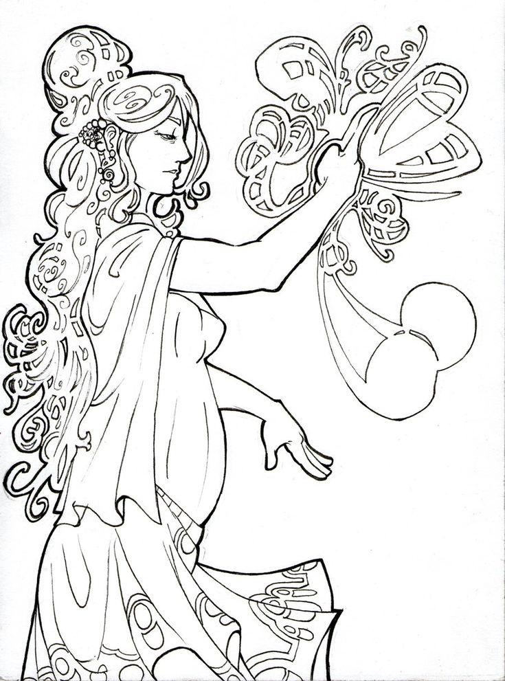 graduation coloring sheets free coloring pages art nouveau coloring page - Art Nouveau Unicorn Coloring Pages