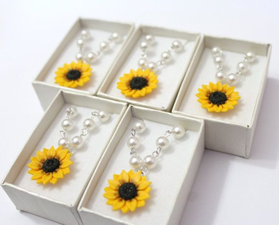 Set of 5 Sunflower Necklace Sunflower Jewelry by NikushJewelryArt