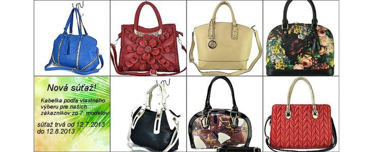 Nová súťaž pre našich zákazníkov o krásne kabelky podľa vlastného výberu zo 7. moderných dizajnov. Do súťaže bude automaticky zaradený každý zákazník s objednávkou v akejkoľvek hodnote. Súťaž trvá od 12.7.2013 do 12.8.2013.https://www.facebook.com/vivafashion.sk