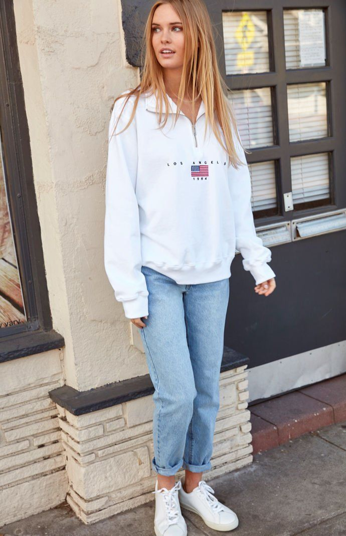 John Galt White LA 1984 Half Zip Sweatshirt in 2019  b51db4d10
