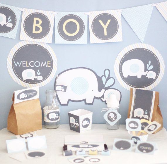 boy elephant baby shower decorations printable blue elephant baby shower decorations instant download boy baby shower decorations