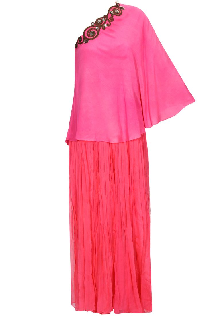 Neon pink embroidered one shoulder cape with pleated palazzos available only at Pernia's Pop Up Shop. #perniaspopupshop #shopnow #newcollection #festive #wedding #RadhikaAiri#clothing#happyshopping
