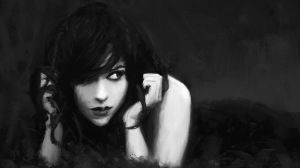 Preview wallpaper girl, person, head, hands, look, eyes, black 1366x768