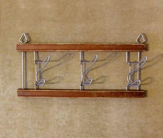 Vintage folding wall hooks Soviet folding rack by MadeInTheUSSR