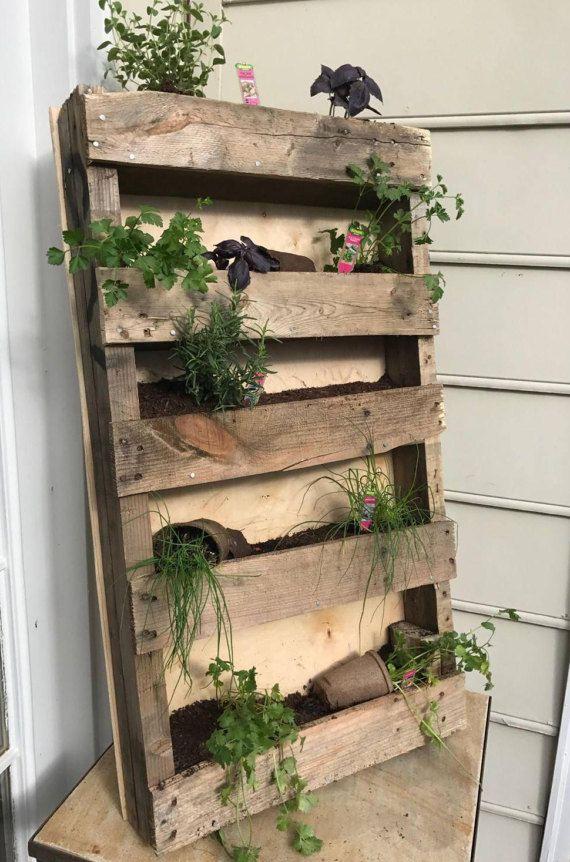 Tiered Wall Planter, Indoor, Outdoor, Plants, Herb, Garden, Pallet, Rustic, Him, Her, Mounted, Moss, Purifier, Wall garden.