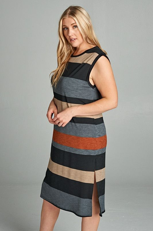 Striped Color-block Midi Length Dress with Side Slit