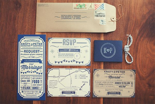 Oh So Beautiful Paper: Peter + Kristy's Rustic Letterpress Wedding Invitations