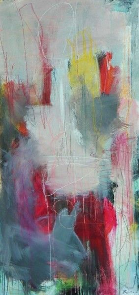 "Jennifer Rivera, ""A Summer Long Gone"",50"" X 24"", acrylic graphite and pastel stick on canvas"
