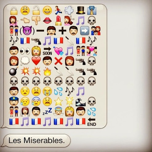 I wish I had learned to describe les mis in a text. Congrats, wise texting/les mis wizard! :)))))))))))