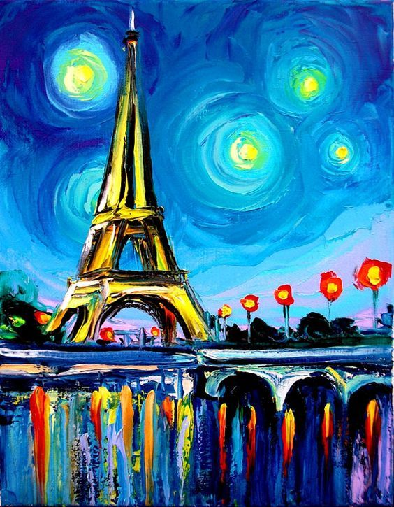 Eiffel Tower acrylic painting for beginners with rainbow colored reflections on the water and swirled starry night.