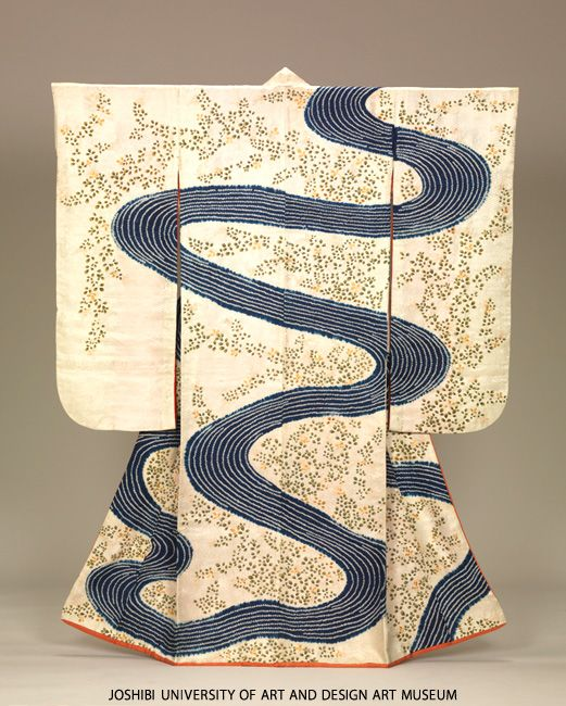 Furisode with flowing water and bush clovers, Edo Period, 19th c. Tie-dyeing (kanoko shibori), stenciled paste-resist dyeing (kata-yuzen) and embroidery on white figured silk satin (riuzu) ground