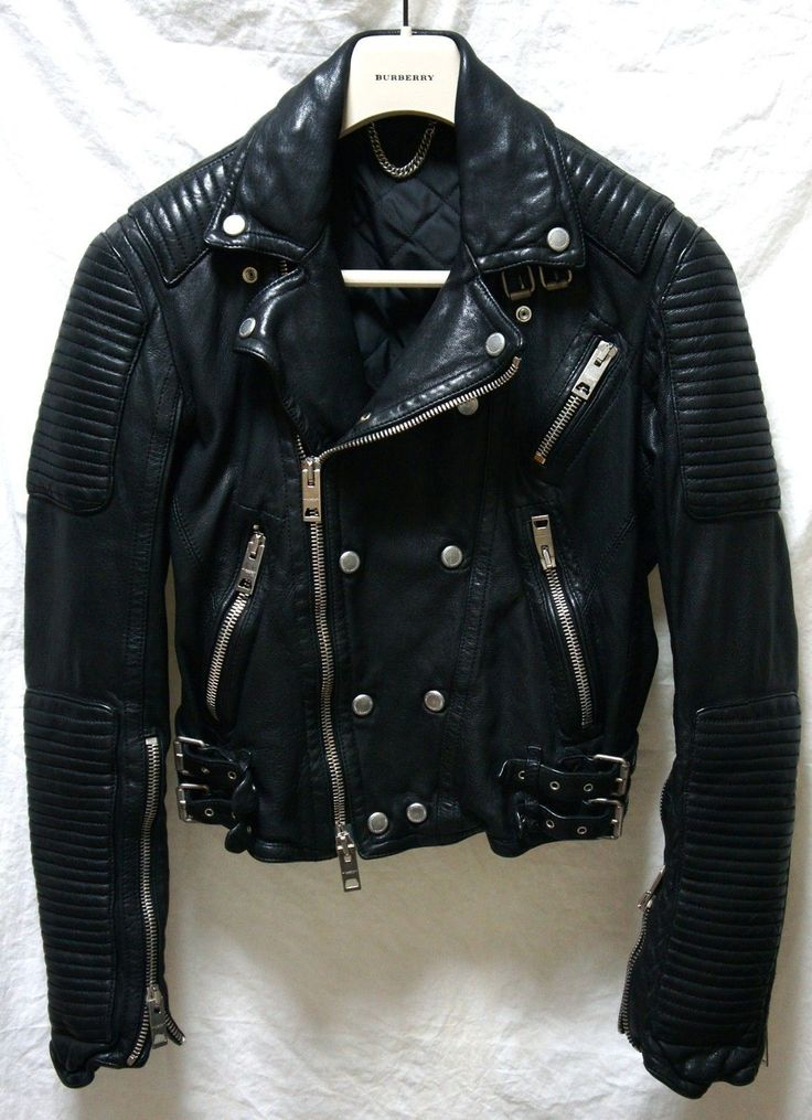 Burberry Jacket (Men's Pre-owned Prorsum Black Leather Biker Coat)