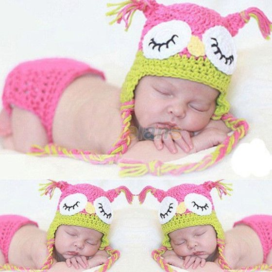 $8.99 Newborn Pink Owl Baby Girl Infant Knit Crochet Clothes Costume Photo Prop Outfit #MadeinChina