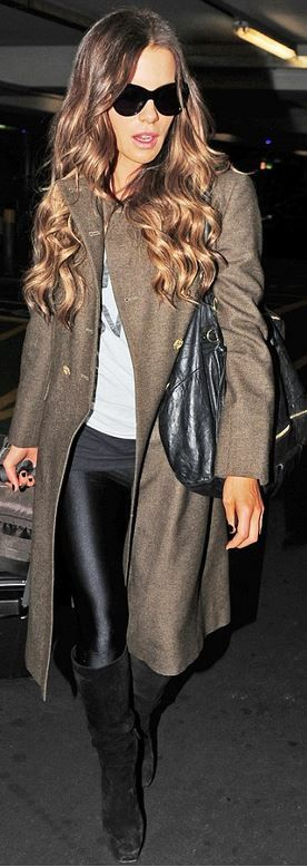 Kate Beckinsale: Purse – Givenchy Pandora medium tote Buy It!  Shirt – Zoe Karssen  Pants – American Apparel  Sunglasses – Oliver Goldsmith