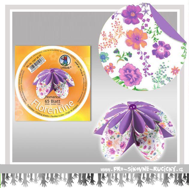 Fleurogami Romance - fialový - kulatý set