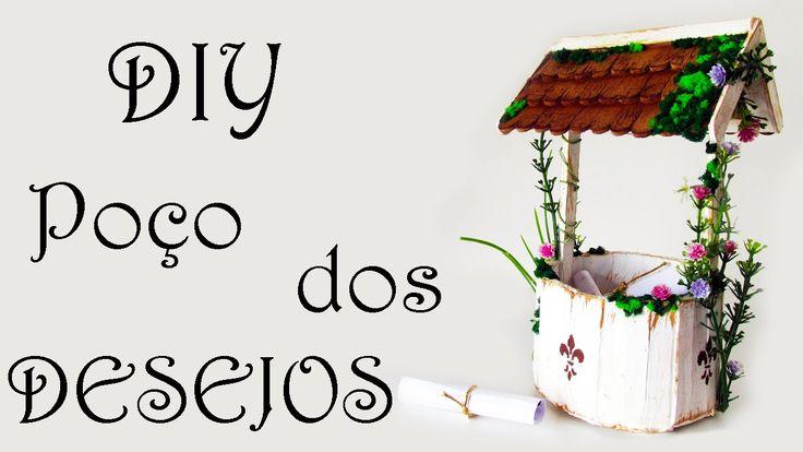 DIY: Como Fazer um Poço dos Desejos para Decorar seu Quarto (Artesanato com Palitos de Picolé - Fairy Wishing Well - Popsicle Sticks Craft Tutorial)