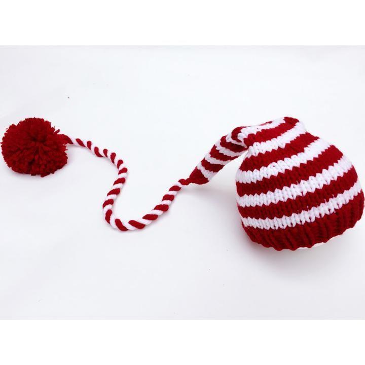 Newborn Baby Knitting Red White Stripe Long Tails Christmas Hat ...