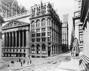 New York Stock Exchange and Wilks Building  1921... I'm boggled by how few people are on the street..