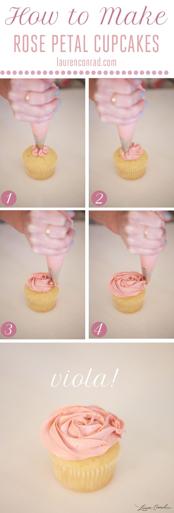 How to Make Rose Cupcakes (all you need is white or chocolate cupcakes, buttercream icing, red food dye, piping bag, 2D icing tip)