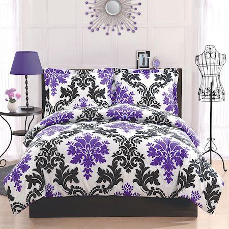 Black & Purple Damask Bedding 2pc Twin Comforter Set Teen Girl Elegant Scroll