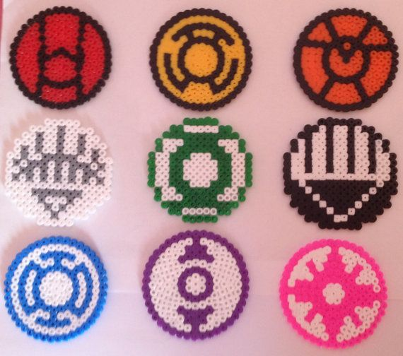 Green Lantern Hama Coasters Magnets Necklaces by MEVCraftDesigns, €2.50
