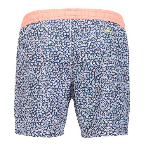 MICRO DAISY PRINT BOARDSHORTS WITH ELASTIC WAISTBAND Micro daisy print Boardshorts with contrast elasticated waistband and adjustable drawstring. Two front pockets. Back Gili's logo embroidery. Internal net. COMPOSITION: 100% POLYESTER lining 100% POLYESTER. Model wears size L he is 189 cm tall and weighs 86 Kg.