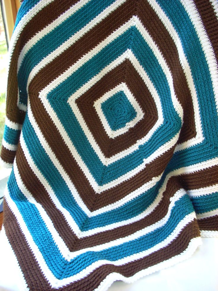 Striped Teal and Brown Baby Blanket by LiLphaniesLine on Etsy