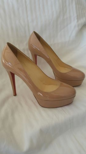 3b4857e6be8 Christian Louboutin Bianca 120 - Nude Patent Leather - Size 40 ...