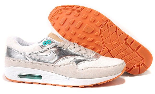 Womens Sail Metallic Silver Sport Turquoise Summit White Nike Air Max 1 Premium Shoes #nike      Discount #Wholesale for Grils in Summer  2014