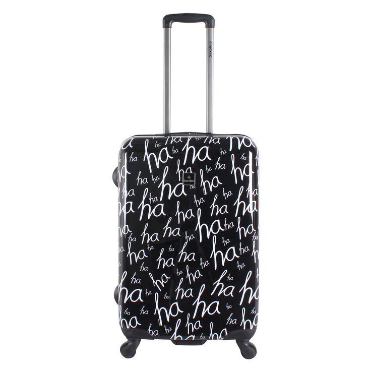 Mittelgroßer #Reisekoffer Saxoline HaHa bei Koffermarkt: ✓schwarze Hartschale mit HaHa-Schriftzug ✓4 Rollen ✓ABS-Polycarbonat ⇒Jetzt kaufen