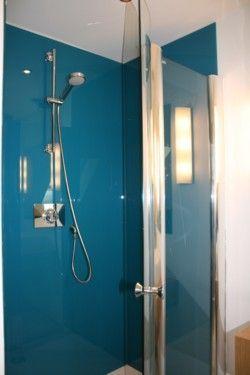 Glass splashback in shower instead of tiles