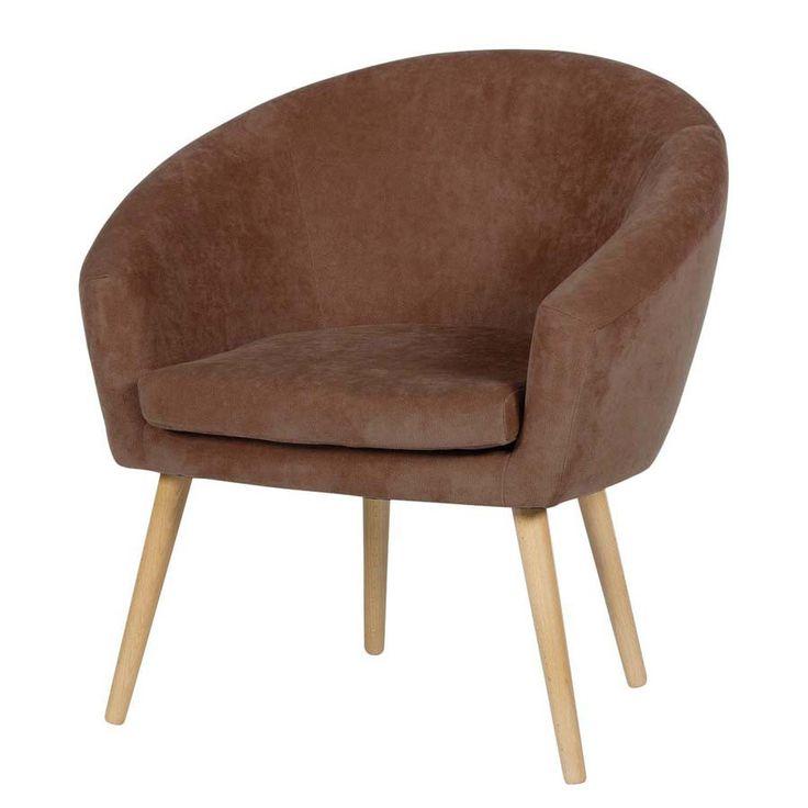 Scandoo brązowy fotel styl PRL