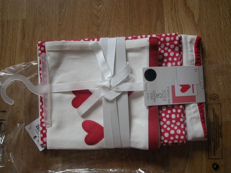 NEXT RED Tea Towels Home is Where the Heart is Set of 3 Assorted Design Kitchen