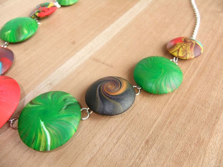 Sterling Silver and Polymer Clay Swirl Necklace.