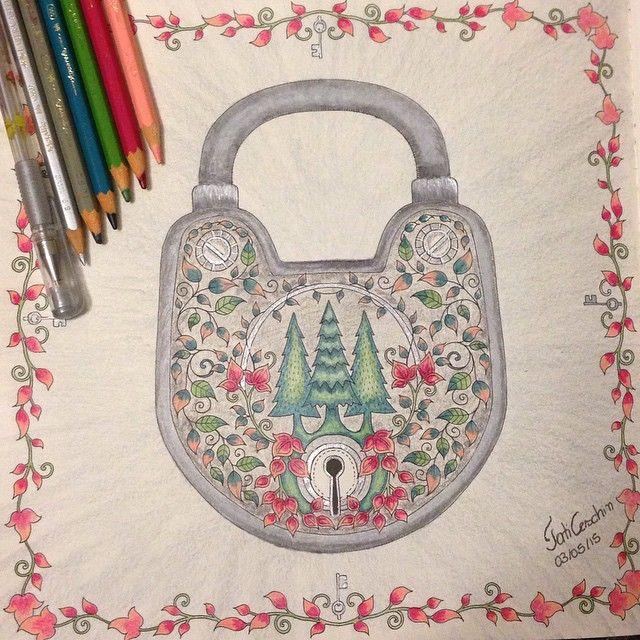 Floresta Encantada Cadeado Johanna Basford Coloring BooksJohanna BasfordForestsArtsyEnchanted ForestColorsIdeasMandalasPaintings
