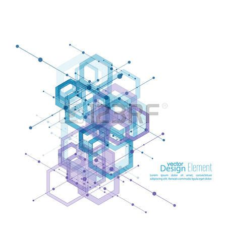 science and technology: Abstract neat Background with transparent cubes, hexagons carcass. Techno design of future, minimalism. technology, science an…