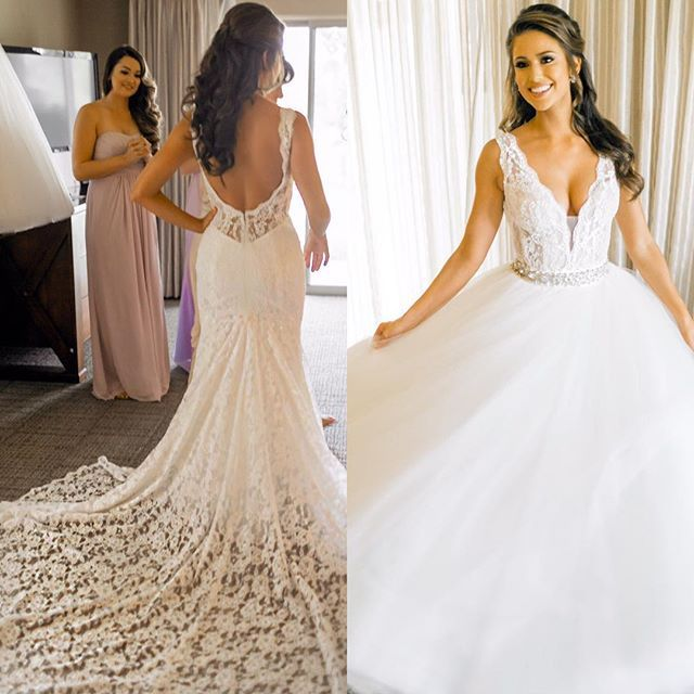 Our drop dead gorgeous #missUSA #PninaBride @realniasanchez enjoyed having two glamorous #PninaTornai bridal looks on her big day - thanks to this lovely detachable skirt! On the LEFT she is in her sexy fitted mermaid shape lace gown and on the RIGHT she attached a surprise skirt over her dress in which she walked down the aisle into her beautiful ceremony. Did you see her on @sayyes_tlc at @KleinfeldBridal ? #Mermaid & #ballgown all in one.. : @natalieschuttphotography