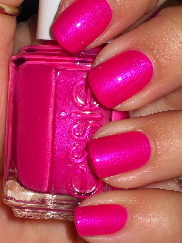Essie Tour De Finance is lovely hot pink with purple blue shimmer. I needed two coats, and it's that typical hot pink with blue flash that pretty much every single brand has some variation of. I still love it. I think it's hot hot hot.
