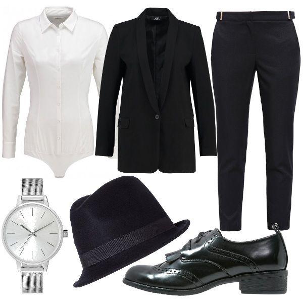 Camicia body bianca abbinata a blazer nero e pantaloni 7/8 neri. Per gli accessori ho scelto stringate nere in ecopelle con frangia, cappello borsalino nero e orologio silver in acciaio inossidabile.