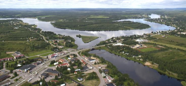 Centre of Pello and Tornio River in Lapland in summer time