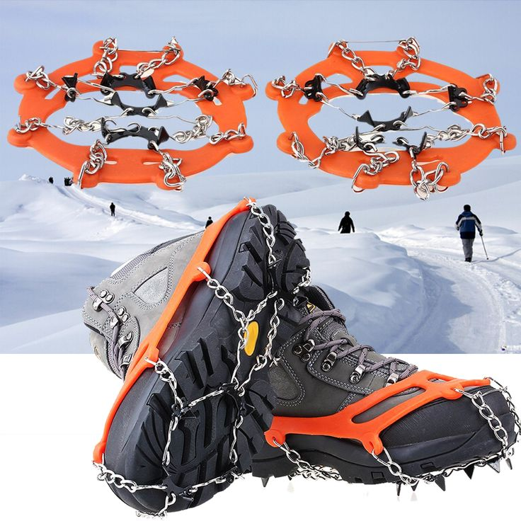 1 Pair 8 Teeth PE Ice Snow Crampons Chain Anti-skid Boot ...